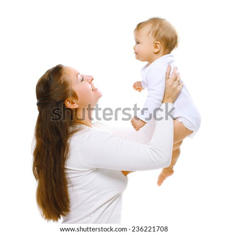 Happy mother with baby having fun - stock photo