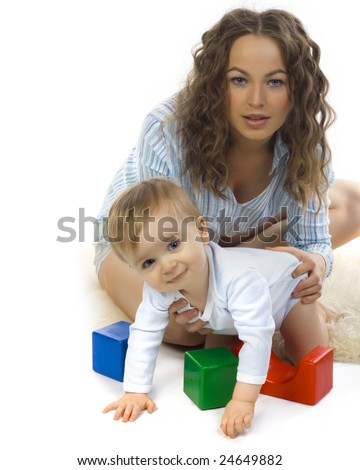 happy mother with baby on white background - stock photo