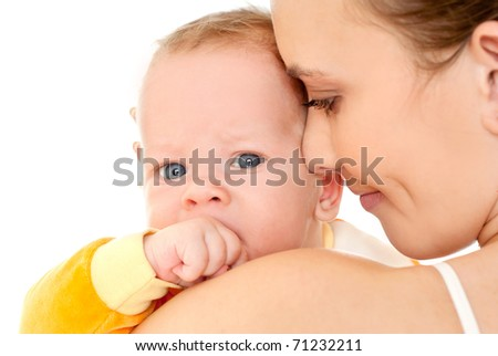 happy mother with baby over white