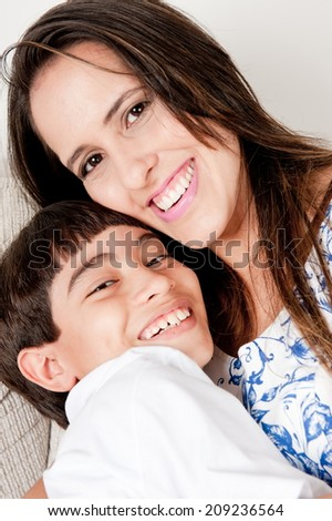 Happy Mother with her son . - stock photo