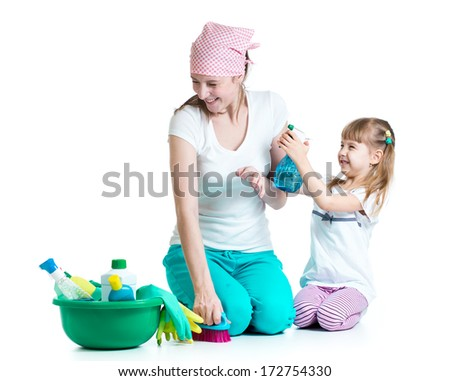 happy mother with kid cleaning room and having fun - stock photo