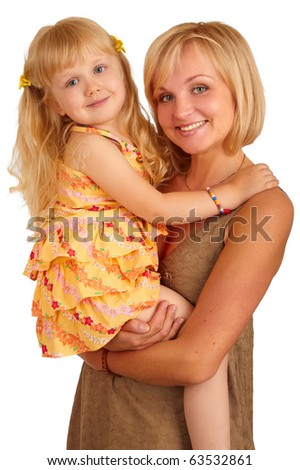Happy mother with little daughter on white background - stock photo