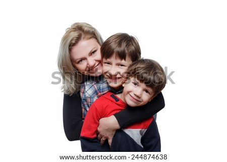 Happy mother with little sons, isolated on white - stock photo