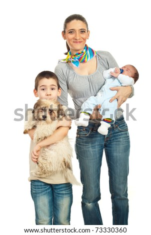 Happy mother with two kids  boys newborn and schoolboy and a puppy dog posing together isolated on white background - stock photo