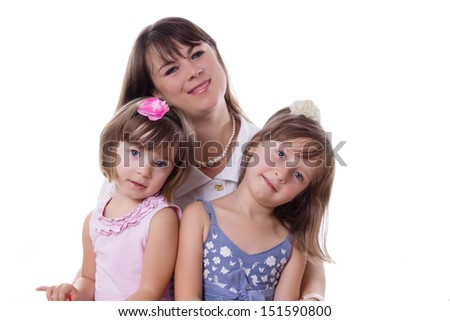 Happy mother with two little daughters