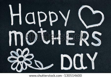 Happy mother written in chalk on a blackboard - stock photo