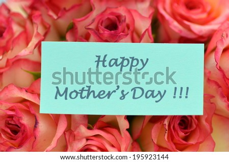 happy mothers day and bouquet of gorgeous roses - stock photo