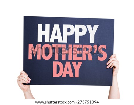 Happy Mothers Day card isolated on white - stock photo