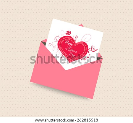 happy mothers day card with envelope heart - stock photo