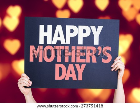 Happy Mothers Day card with heart bokeh background - stock photo