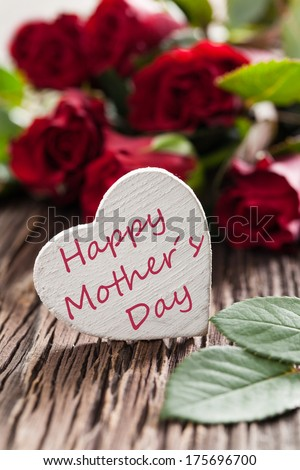 happy mothers day card with roses - stock photo