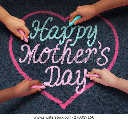 Happy mothers day children drawing with chalk on asphalt a message of love for their loving parent and parenting appreciation for mom from a diverse community of kids celebrating family. - stock photo