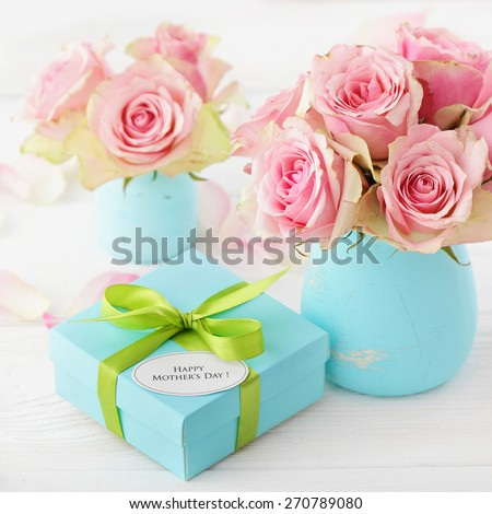 happy mothers day gift and flowers - stock photo