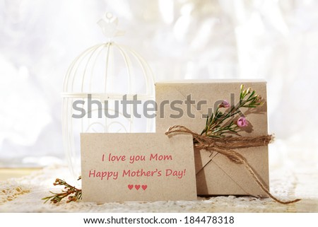 Happy Mothers Day, hand crafted card stock present box and greeting card - stock photo
