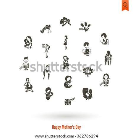 Happy Mothers Day Icons - stock photo