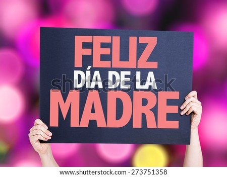 Happy Mothers Day (in Spanish) card with pink bokeh background - stock photo