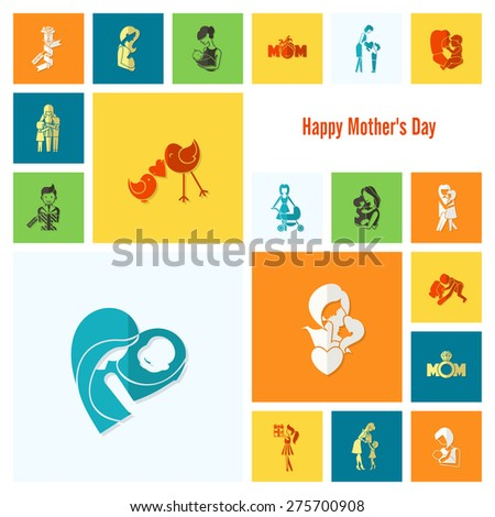 Happy Mothers Day Simple Flat Icons. - stock photo