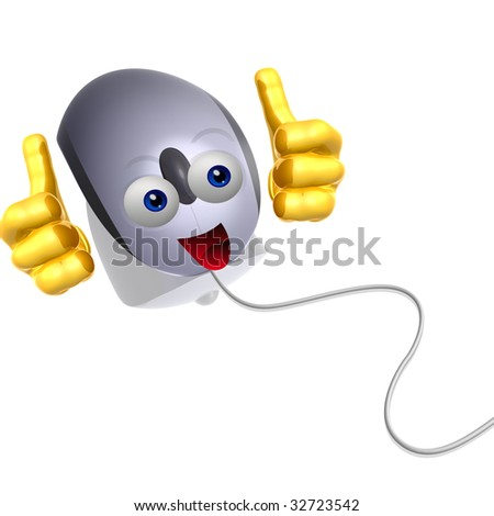 Happy mouse icon character illustration - stock photo
