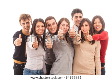 Happy Multiracial Group with Thumbs Up - stock photo