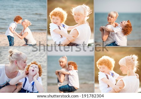 happy mum and her red head son having fun together outside on the beach, collage of photos - stock photo