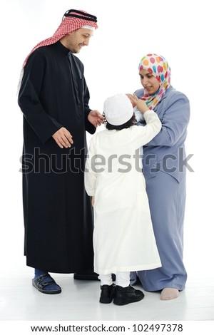 Happy Muslim family - stock photo