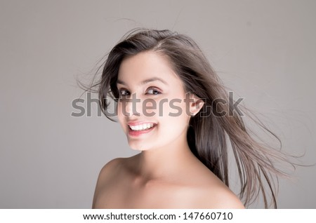 Happy naked topless woman - stock photo