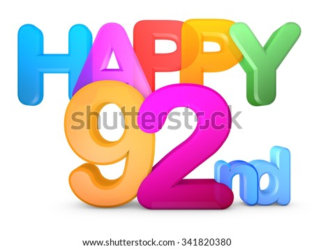 Happy 92nd Title in big letters - stock photo