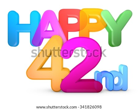 Happy 42nd Title in big letters - stock photo