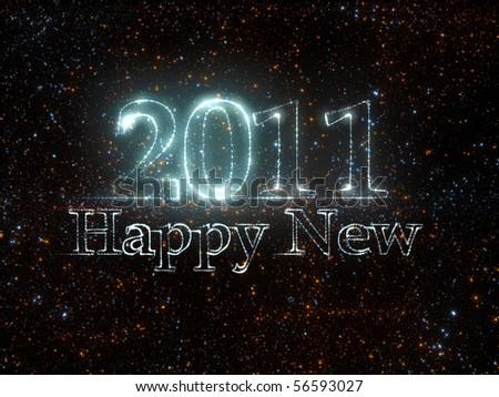 Happy New 2011 from stars - stock photo