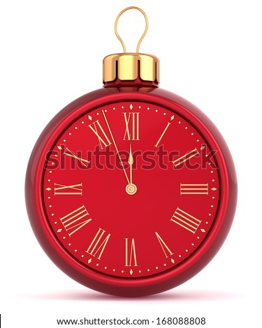Happy New Year alarm clock bauble Christmas ball ornament decoration icon concept. Traditional wintertime midnight countdown future beginning symbol souvenir. 3d render isolated on white background - stock photo