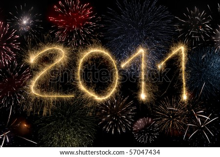 Happy new year 2011 and fireworks - stock photo