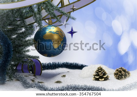Happy New Year and Merry Christmas background with snow and christmas tree decorations - stock photo