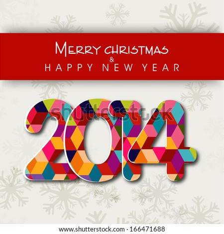 Happy New Year 2014 and Merry Christmas celebration flyer, banner, poster or invitation with colorful stylish text on snowflakes decorated grey background.