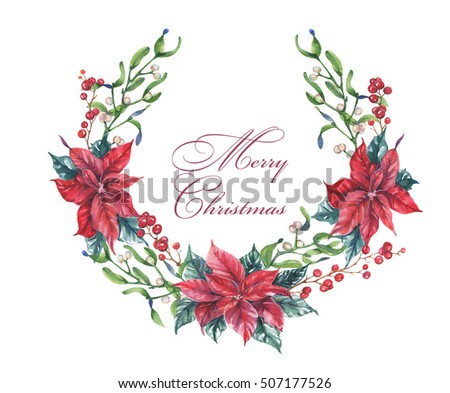 Happy new year merry christmas greeting stock illustration 507177526 happy new year and merry christmas greeting template hand drawn watercolor poinsettia wreath m4hsunfo