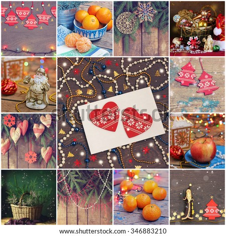 Happy New year and Merry Christmas! New Year's background. New Year's congratulation, red decorative jewelry in the form of heart on an envelope, a color beads and confetti. Card, invitation. - stock photo