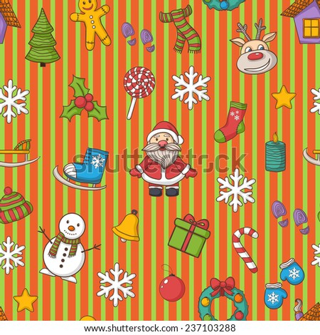 Happy New Year and Merry Christmas pattern in line,with Santa Claus,snowman, Christmas tree,  candy , ice skates, snowflake,gift, candle, Christmas wreath, Christmas toys, hat, scarf,sock,deer - stock photo