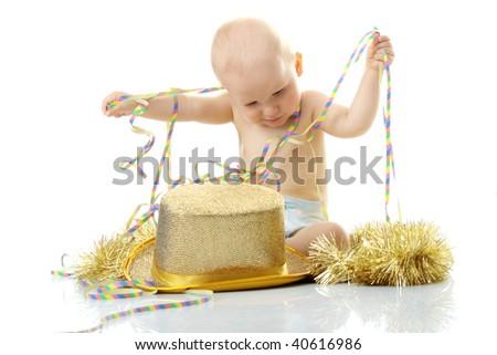 Happy New Year Baby isolated on white background - stock photo