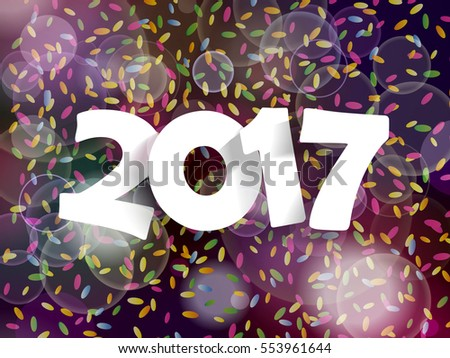 Happy New Year 2017 background decoration. Greeting card design template with confetti. illustration of date 2017 year.
