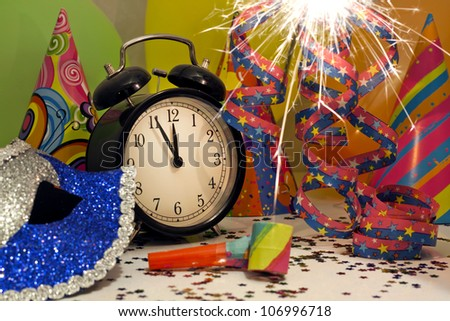 Happy new year background with carnival mask serpentines confetti and balloons