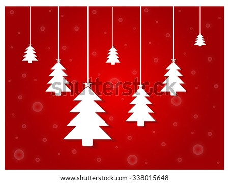 Happy New Year background with Christmas trees hanging red  - stock photo