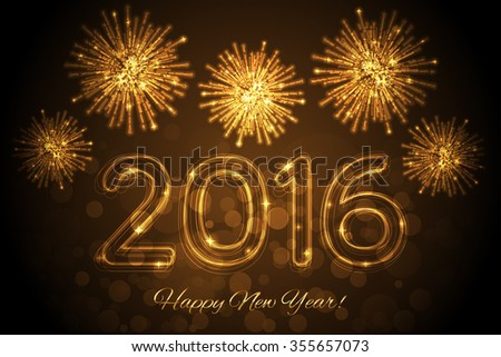 Happy New Year 2016 background with fireworks