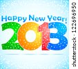 Happy New Year 2013 Background with snow. - stock photo