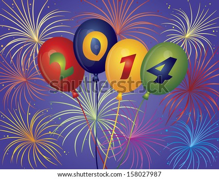Happy New Year 2014 Balloons with Fireworks Display Background Raster Illustration