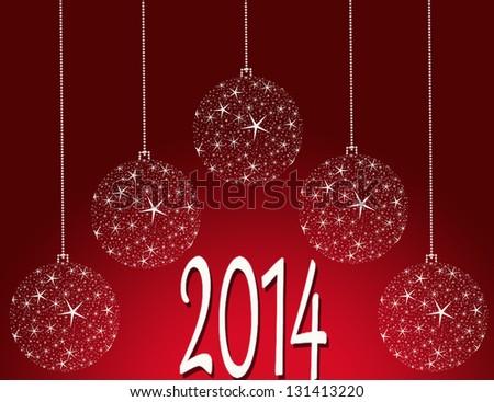 happy new year 2014 balls - stock photo
