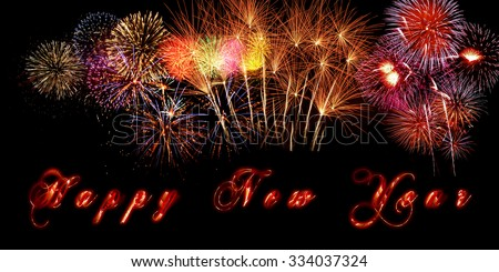 Happy New Year banner with fireworks and burning letters - stock photo