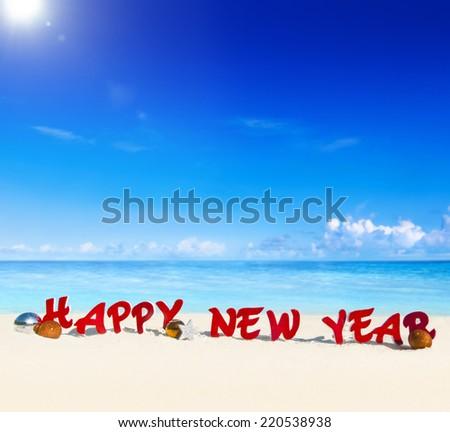 Happy New Year beach theme. - stock photo