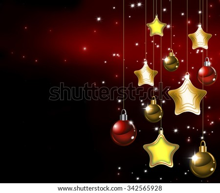 Happy New Year 2016. Beautiful Merry Christmas background. Deep red and gold Happy Holidays concept. Winter Party invitation with sparkling baubles and stars hanging. Elegant and trendy concept. - stock photo