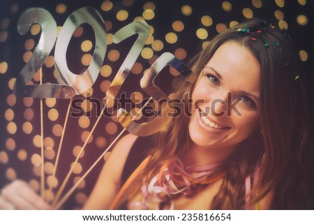 Happy New Year / Beautiful young women with new year numbers - stock photo
