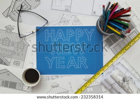 happy new year blueprint - stock photo