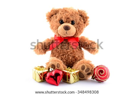 Happy new year brown teddy bear and gift isolated on white - stock photo